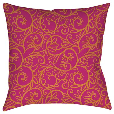Funky Florals Swirl Pattern Indoor/Outdoor Throw Pillow Size: 16 H x 16 W x 4 D, Color: Pink