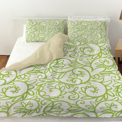Funky Florals Swirl Pattern Duvet Cover Size: King, Color: White