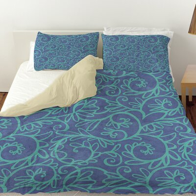 Funky Florals Swirl Pattern Duvet Cover Size: Twin, Color: Blue