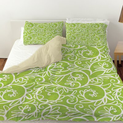 Funky Florals Swirl Pattern Duvet Cover Size: King, Color: Green