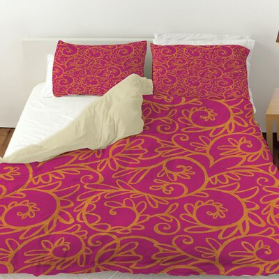 Funky Florals Swirl Pattern Duvet Cover Size: Queen, Color: Pink
