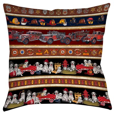 Fire House Stripe Printed Throw Pillow Size: 14 H x 14 W x 3 D