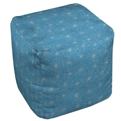 Funky Florals Daisy Sketch Ottoman Upholstery: Aqua
