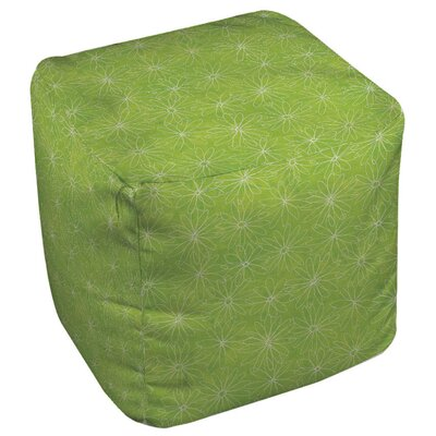 Funky Florals Daisy Sketch Ottoman Upholstery: Lime