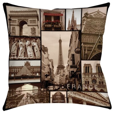 France Indoor/Outdoor Throw Pillow Size: 16 H x 16 W x 4 D