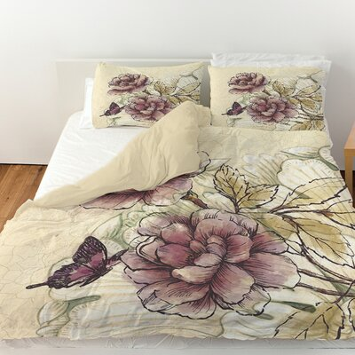 Rosette Butterfly Duvet Cover Size: Queen