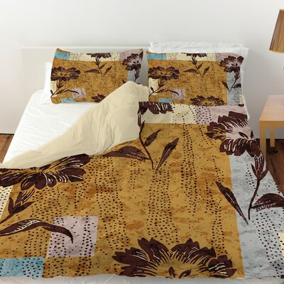 Floral Study in Blocks Duvet Cover Size: King