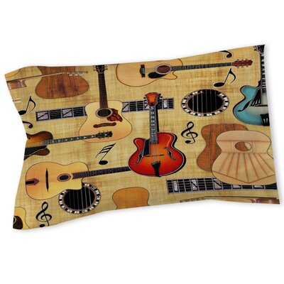Guitar Collage Cream Sham Size: Queen/King