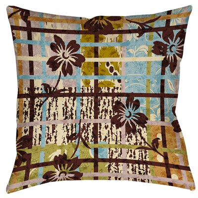 Floral Study in Plaid Printed Throw Pillow Size: 14 H x 14 W x 3 D