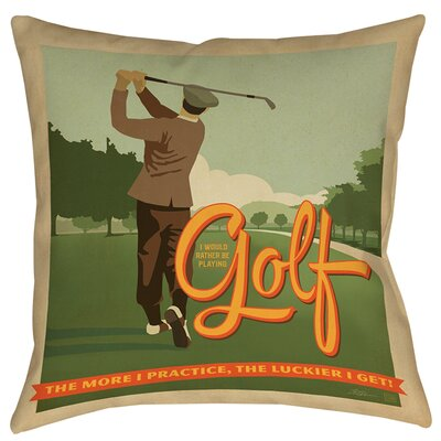 Golf Bad Day Printed Throw Pillow Size: 16 H x 16 W x 4 D