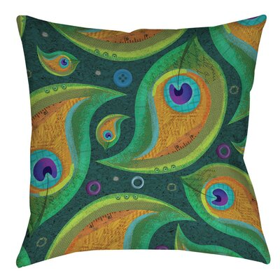 Peacock 9 Printed Throw Pillow Size: 14 H x 14 W x 3 D
