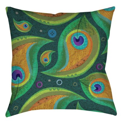 Peacock 9 Indoor/Outdoor Throw Pillow Size: 18 H x 18 W x 5 D