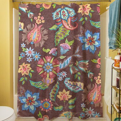 Shangri La Floral Shower Curtain Color: Brown