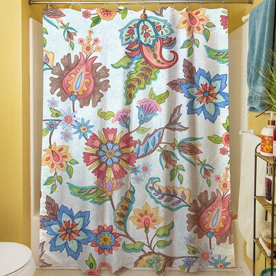 Shangri La Floral Shower Curtain Color: Natural
