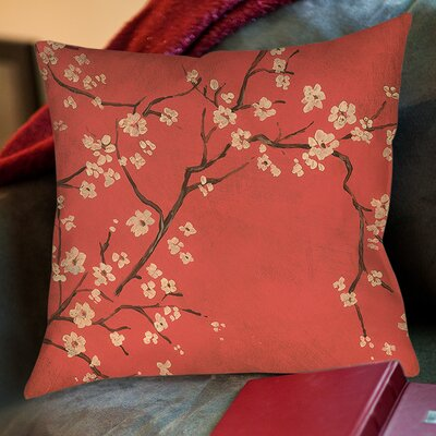 Golden Cherry Blossom Printed Throw Pillow Size: 16 H x 16 W x 4 D