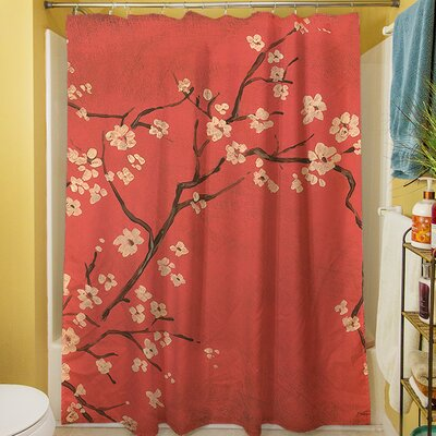 Golden Cherry Blossom Shower Curtain