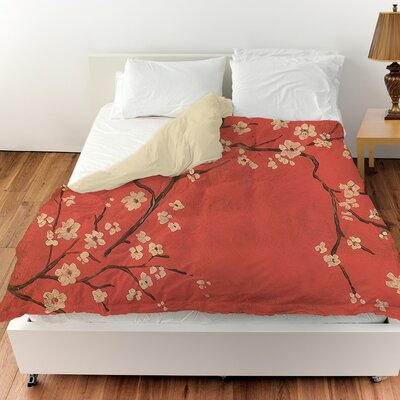 Golden Cherry Blossom Duvet Cover Size: Queen