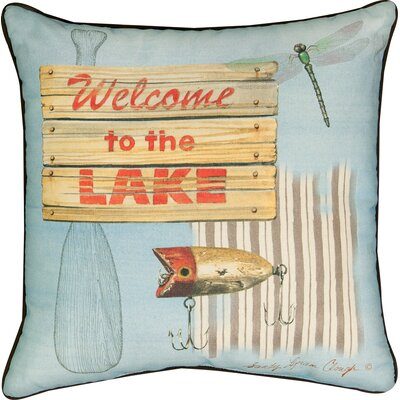Welcome to the Lake Cotton Throw Pillow