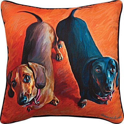 Double Duchies Daschund Throw Pillow