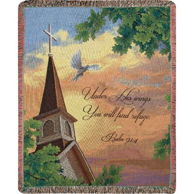 Under His Wings You Will Find Refuge Tapestry Cotton Throw