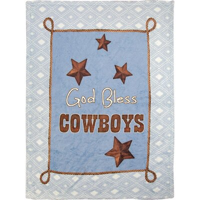 God Bless Cowboys Fleece Throw