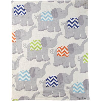 Tiny Trunks Fleece Throw Color: Blue