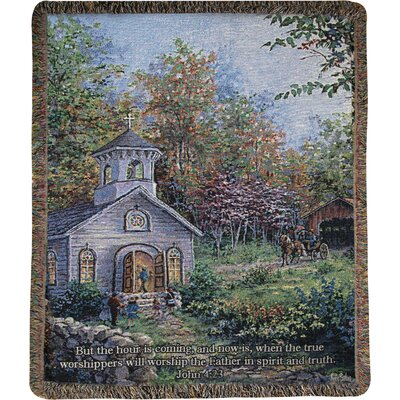 Worship in the Country Tapestry Cotton Throw