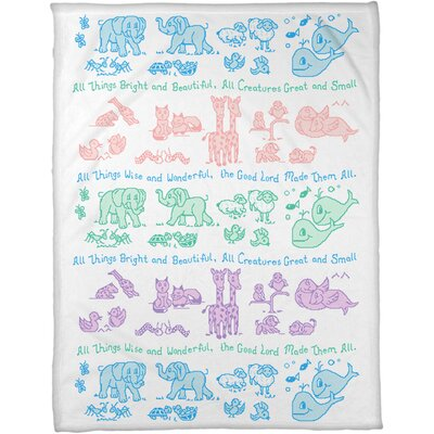 All Creatures Coral Fleece Throw