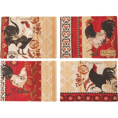 La Provence Rooster BKD 4 Piece Placemat Set TLPRP