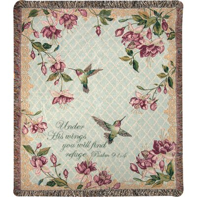 Rubys Among the Fuchsias Verse Tapestry Cotton Throw