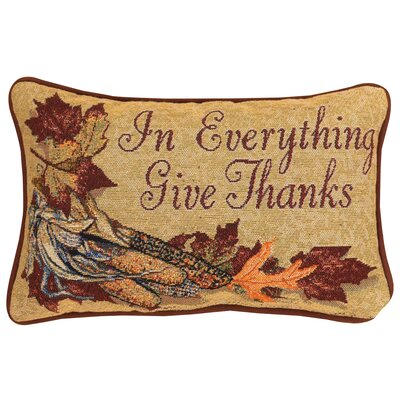 In Everything Give Thanks Word Lumbar Pillow