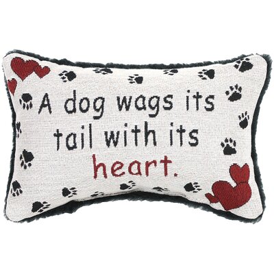 A Dog Wags His Tail with His Heart Word Lumbar Pillow