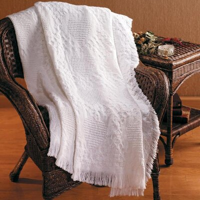 Basketweave Hearts 2 Layer Cotton Throw Color: White