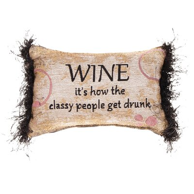 Wine...People Get Drunk Word Lumbar Pillow
