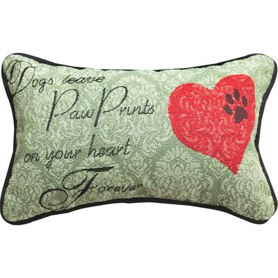 Dogs Leave... Heart Forever Word Lumbar Pillow