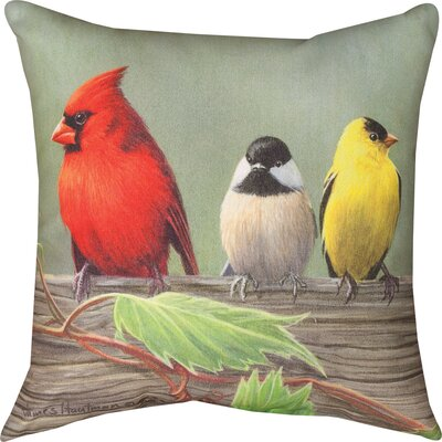 Birds on a Line Cardinal Knife Edge Throw Pillow