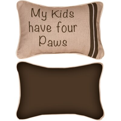 My Kids Have Four Paws Word Lumbar Pillow