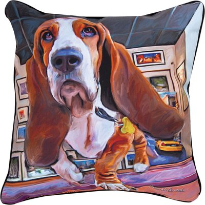 Bumping Along Basset Hound Throw Pillow