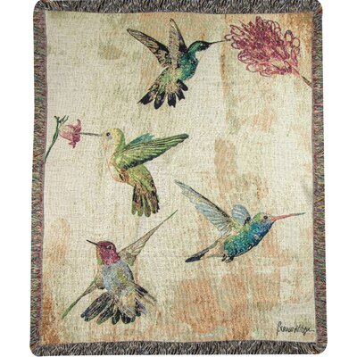 Hummingbird Floral Tapestry Cotton Throw