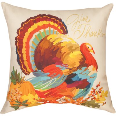 Give Thanks Turkey Knife Edge Throw Pillow