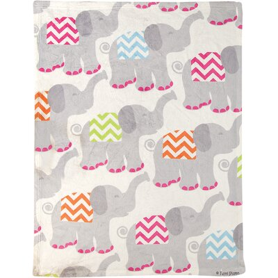 Tiny Trunks Fleece Throw Color: Pink