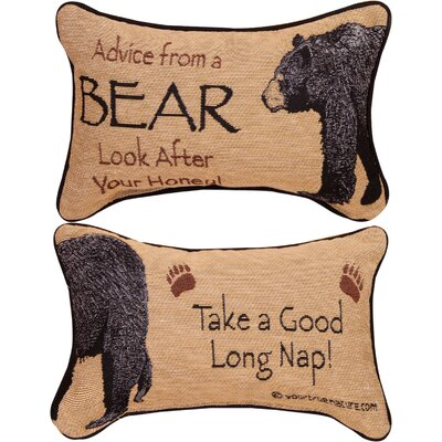 Advice from a Bear Word Lumbar Pillow