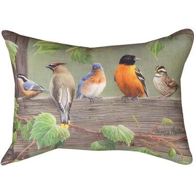 Birds on a Line 3 Knife Edge Lumbar Pillow