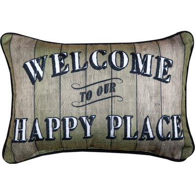 Welcome to Our Happy Place - Word Dye Cotton Lumbar Pillow