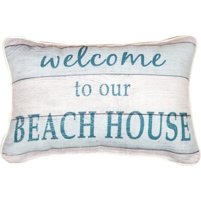Welcome to Our Beach House Word Cotton Lumbar Pillow