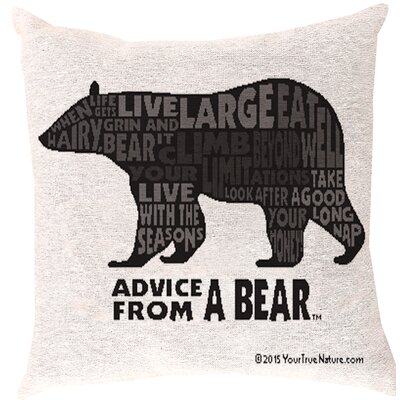 Advice from a Bear Words Throw Pillow