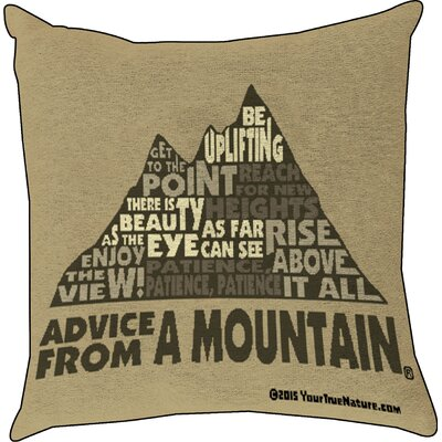 Advice from a Mountain Text Throw Pillow