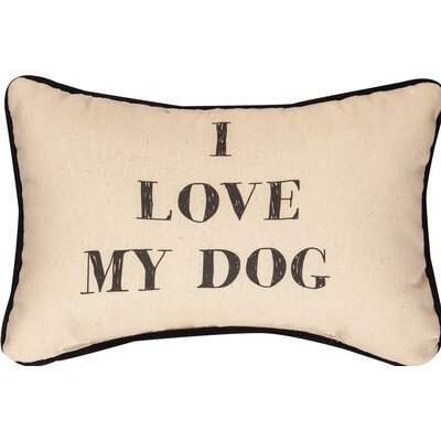 I Love My Dog Word Cotton Lumbar Pillow