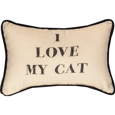 I Love My Cat Word Cotton Lumbar Pillow
