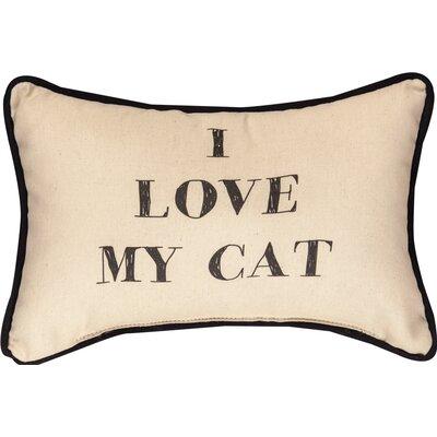 I Love My Cat Word Cotton Lumbar Pillow